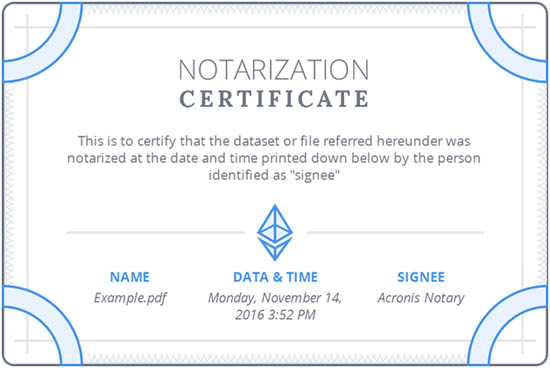 acronis notarization certificate