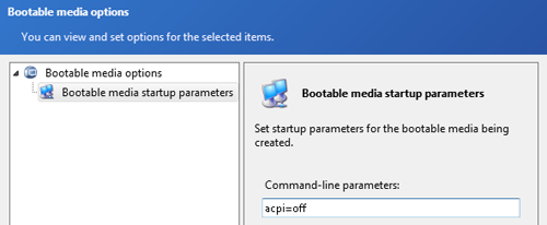 bootable media startup parameters