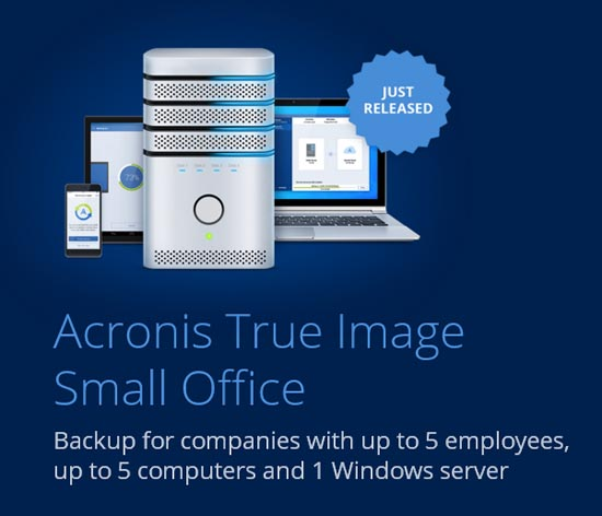 acronis true image small office main screen