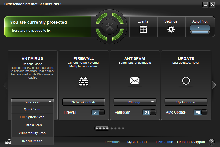 internet security 2012 main window