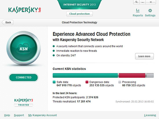 Kaspersky Internet Security 2013 cloud protection