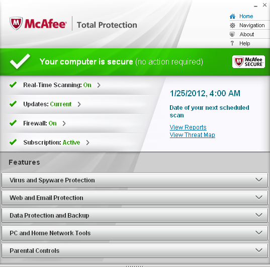 McAfee Total Protection 2012 user interface
