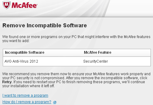 McAfee vs AVG incompatibility