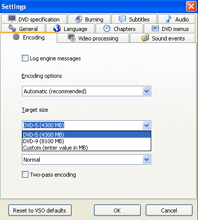 convertxtodvd general settings screenshot